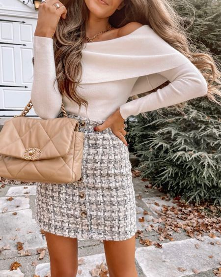 The Nancy Foldover Fitted Off The Shoulder Sweater Ivory  XS, TTS, cmcoving, Caitlin Covington, Pink Lily Collection, fall fashion, use code CAITLIN20 for 20% off!   #LTKSeasonal #LTKunder50 #LTKsalealert