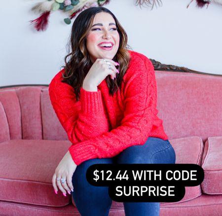 Cozy red sweater for Valentine's Day or any occasion!! Under $13, i sized up 1. ❤️ Loft   #LTKSeasonal #LTKVDay #LTKsalealert