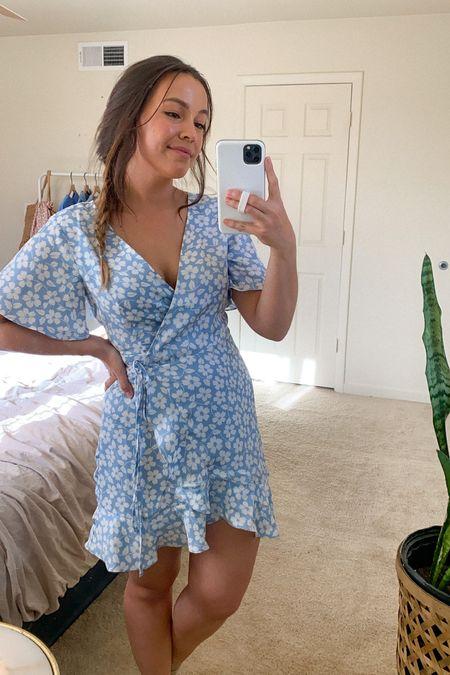 Spring Dress | True to size!! I'm in a small.   Easter dress • Easter • Wedding Guest Dress • Spring Outfit • Pastel • Baby Blue  #LTKunder100 #LTKtravel #LTKunder50