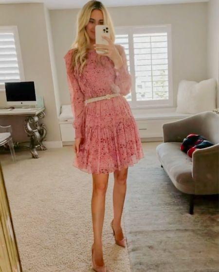 Wedding guest look. Rachel Parcell fall collection. Punk dress. Blush suede pumps. Cream skinny belt. Women's fall fashion.  #LTKSeasonal #LTKshoecrush #LTKwedding