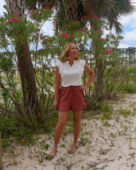 Pink ruffle shorts White ruffle top Amazon finds Fun summer outfit  http://liketk.it/3jFzD #liketkit @liketoknow.it #LTKunder50 #LTKstyletip #LTKunder100