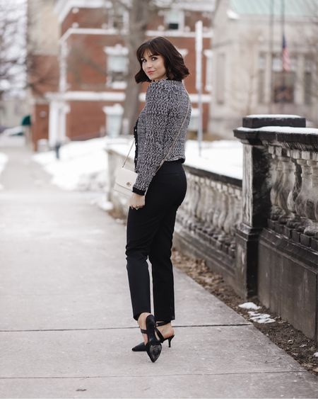 My whole look is on major sale! I love this tweed blazer! I wearing a size xs in the jacket and a 0 in the trousers. http://liketk.it/37n33 #liketkit @liketoknow.it