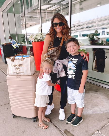 @liketoknow.it http://liketk.it/3k66e #liketkit #LTKfamily #LTKsalealert #LTKstyletip  .. Nsale, airport style, airport outfit, joggers, white sneakers, travel style