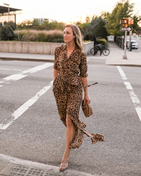 Leopard Dress, Shirt Dress, Fall Dress  What I wore for our anniversary! My dress is on sale and runs TTS. Pouch is Amazon, heels are TTS but almost sold out. Similar leopard dresses and one leopard skirt linked!  #falldresses #tshirtdress #leoparddress