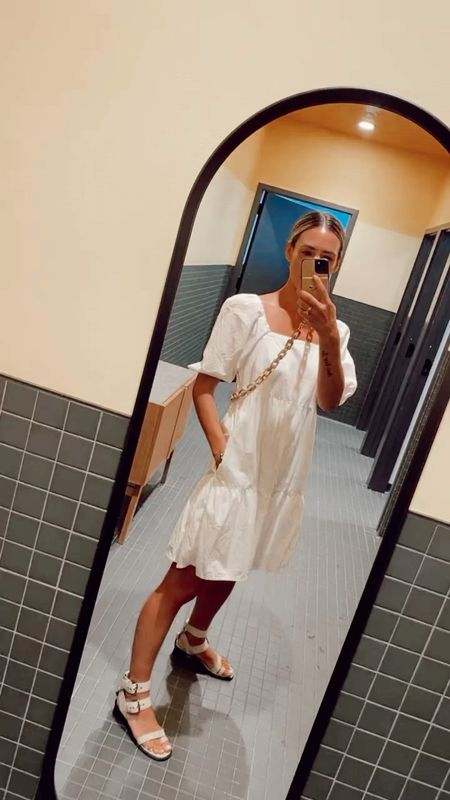 White on white today for this heat wave! Loving this white cotton dress that is under $40  #LTKstyletip #LTKunder50