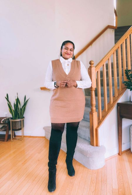 Sweater vest over class white shirt, black over the knee boots, fall outfits, fall style,   #LTKHoliday #LTKworkwear #LTKstyletip