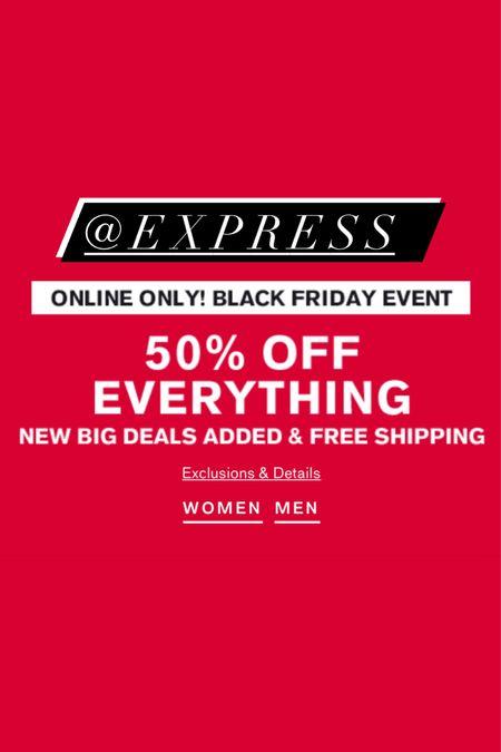 50% off everything at Express! Black Friday sales, doorbusters, doorbuster, express, flash sale   #LTKgiftspo #LTKsalealert #LTKunder50