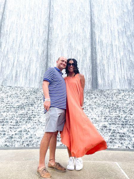 Fall fashion: Orange maxi dress + Quay sunglasses + Adidas tennis shoes   #LTKstyletip #LTKunder100 #LTKSeasonal
