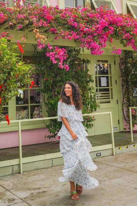 Blue floral maxi dress dresses summer look style   #LTKtravel #LTKunder100 #LTKsalealert