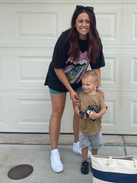 Oversized shirt from Target, biker shorts from Lululemon, and shoes from Walmart. Toddler boy clothes from H&M and shoes from Nike.
