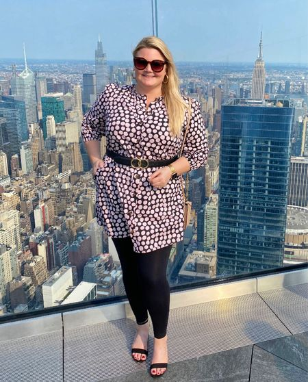 On top of the world 🌎. Polka dot dress was a little short on me so I added black leggings and a belt! Wearing XL in the dress, true to size. Limited sizes left!  #LTKunder50 #LTKstyletip #LTKcurves