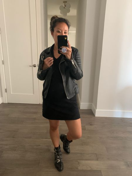 Add a leather jacket and some boots to that summer dress and you instantly have a fall look! Black jacket. Black leather jacket. Fall jacket. Fall look. Fall wardrobe. Fall outfit. Mom style. Bump style. Not maternity maternity. Black boots. Studded boots. Black studded boots. LBD. Little black dress. I invested in the boots and the jacket and saved on the dress. $12! Sold out, but I linked a similar style. Target style. The jacket is five years old! All Saints.  #LTKshoecrush #LTKbacktoschool #LTKunder50