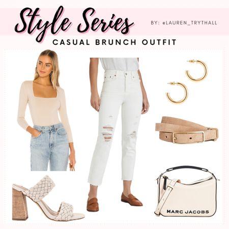 Casual Brunch OOTD (Casual Outfit, Summer Outfit, White Jeans, White Denim, Heels, brunch outfit, bodysuit, gold hoops, tan belt)  #LTKSeasonal #LTKstyletip #LTKunder100