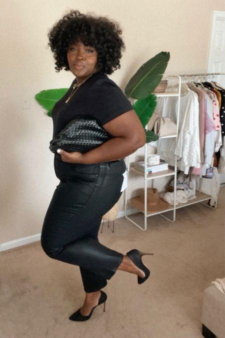 #Nsale coated straight leg jeans size 18, padded shoulder bodysuit size 1X, #DateNight #PlusSize #BlackGirlStyle #FallOutfit  #LTKunder100 #LTKstyletip #LTKfamily