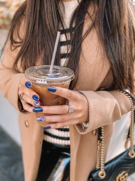 Fail nails Press on nails Fall fashion Camel coat Wool coat  Sweater Patent leather leggings   #LTKunder100 #LTKSeasonal #LTKbeauty