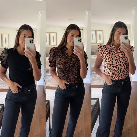 Amazon fashion finds under $40, wearing a medium in all tops. These jeans are designer dupes - wearing a size 28, TTS   #LTKworkwear #LTKSeasonal