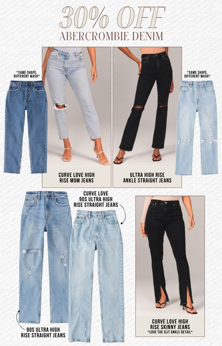 ABERCROMBIE SALE — 30% off their jeans! Abercrombie has some of my favorite go-to denim and now is a great time to snag them while on sale!  — 90s inspired — Ultra-high waisted — Mom jeans  — Skinny jeans  #LTKsalealert #LTKunder100 #LTKstyletip