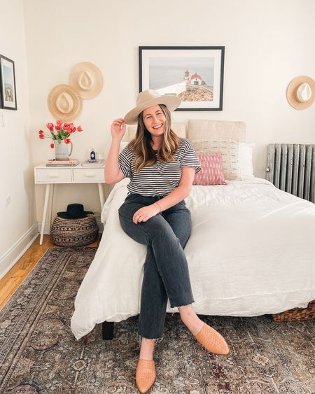 All my favorite things for spring in one place 🌷I think my mood for this spring and summer is going to be easy basics AKA reverting back to my favorites including lots of stripes and simple dresses. I also can't wait to wear these mules with EVERYTHING! 👏🏼  Bedroom decor NYC apartment  Black jeans Wide brim hat Spring basics Casual style  Classic style    #LTKunder100 #LTKhome #LTKSeasonal