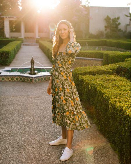 Floral dress, midi dress, reformation dress, floral dresses, green dress, feminine dress, wedding guest dress http://liketk.it/3ccH2 #liketkit @liketoknow.it