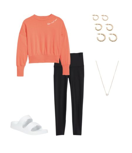 Outfit ideas for leggings from old navy & banana republic. Colorful Birkenstock dupes from old navy and Amazon.