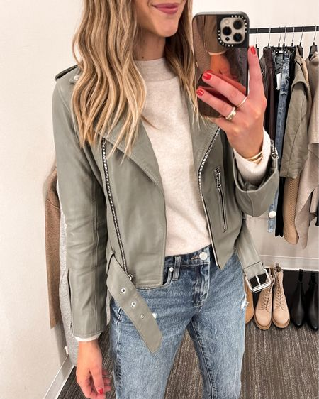 Love this allsaints leather jacket from the #nsale. It's the most gorgeous sage green color and works with both dark and light neutrals. Wearing a US 6 #nordstromsale #anniversarysale #liketkit @liketoknow.it http://liketk.it/3kGoX    #LTKunder100 #LTKunder50 #LTKsalealert