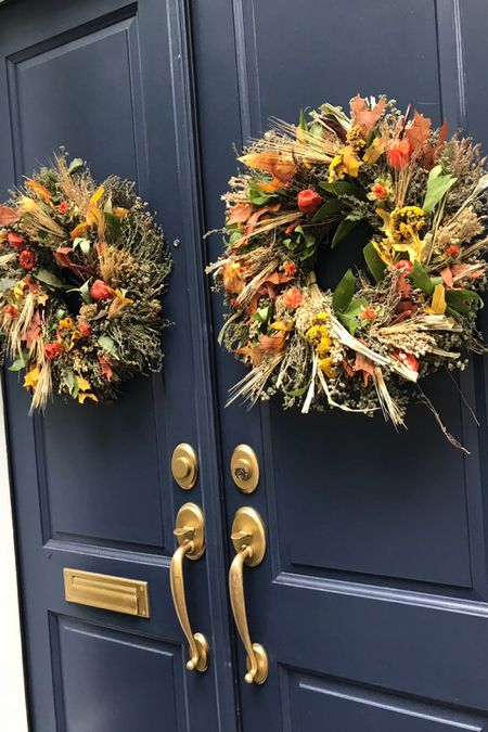 Fall wreaths, fall entryway decor, autumnal wreaths, dried wreaths under $100, home decor, front door, finding beauty mom   #LTKHoliday #LTKunder100 #LTKSeasonal