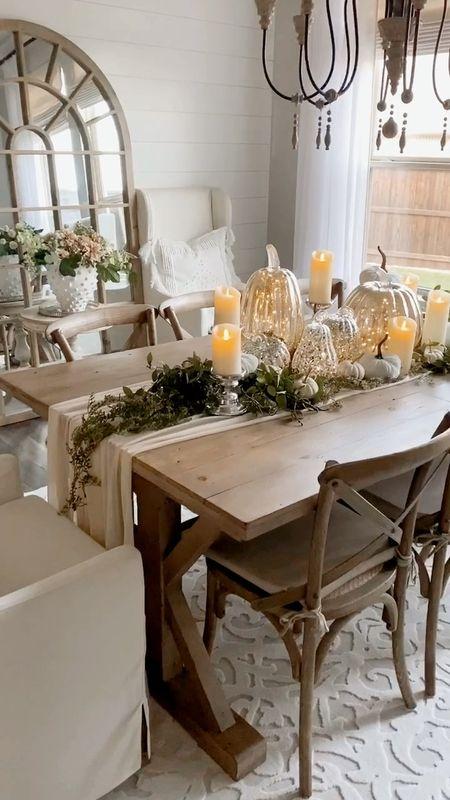Fall thanksgiving tablescape    Dining room table mosaic pumpkin centerpiece pottery barn home decor   #LTKSeasonal #LTKhome #LTKHoliday