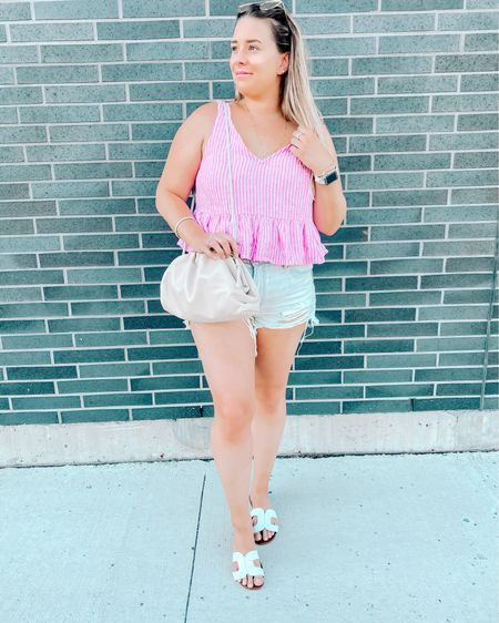I've always been a fan of peplum tops and ripped jean shorts, so why not pair them together? This pink and white striped peplum top I snagged from Nordstrom Rack last summer (linked similar ones) and these American Eagle ripped jean shorts are a staple in my wardrobe.  Summer slides & Bottega Vaneta 'The Pouch' (linked the perfect dupe below!) are something I'll be rocking all summer. This is the perfect summer look for heading out and about!   http://liketk.it/2SJlr #liketkit @liketoknow.it #LTKunder100 #LTKunder50 #LTKitbag #bottegapouch #bottegavanetapouch #thepouch #peplumtop #nordstrom #nordstromrack #thepouch #thepouchmini #bottegavanetadupes #bottegavanetathepouchdupes #designerbagdupes #bottegapouch #bottegavanetabags #bottegadupe
