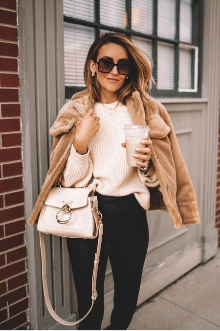 Teddy jacket in sale 40% off - cream sweater under $30 - spanx lwggings and combat booties under $100 - fall outfits ~ fall fashion - Nordstrom   #LTKunder100 #LTKsalealert #LTKstyletip