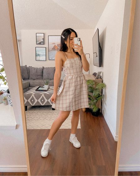 Get 15% off SHEIN with my code: Q3YGJESS  plaid dress, white sneakers, hair accessories, socks, transitional style, fall dress, fall outfits, fall style, fall outfit inspo, fall outfit ideas   #LTKsalealert #LTKshoecrush #LTKunder50