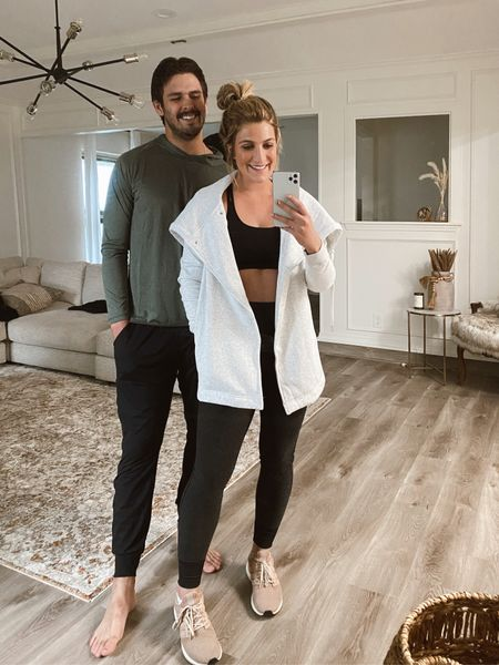 Fall workout clothes for him & her! This wrap jacket is a fall classic under $100. My husband is wearing two of his fave zella pieces! Great active hoodie and the softest workout joggers! He's in larges I'm in smalls   #LTKfit #LTKunder100 #LTKstyletip