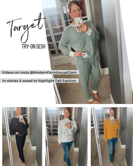 The SOFTEST comfy loungewear/joggers/ sleepwear sets from Target!! Plus my yellow waffle SOFT long sleeve Fall shirt and cozy soft lightweight tie dye sweatshirt and more.  Head to my stories on Instagram ModernFarmhouseGlam for video of these outfits and more. I will save everything to my highlight called fall fashion.  #LTKstyletip #LTKSeasonal #LTKunder50