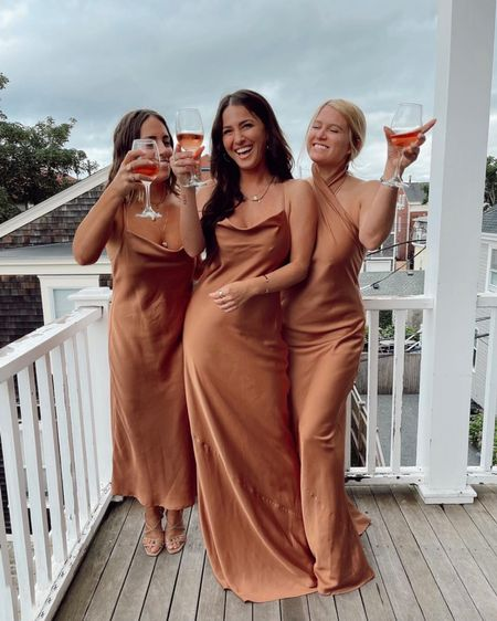 We are loving these bridesmaids in luxe silk in a trendy copper color! 😍😍  Bridesmaids dresses What to wear to a wedding   #LTKwedding http://liketk.it/3jKoR #liketkit @liketoknow.it