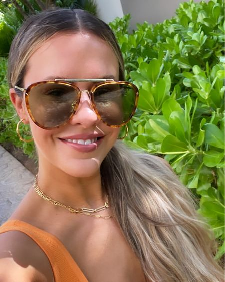 Favorite designer sunnies! I love oversized aviators & these are actually men's! Also linked up the tinted SPF that gives you a gorgeous glow, plus the lip color & cheek balm! http://liketk.it/3d1vq #liketkit @liketoknow.it #LTKbeauty #LTKtravel #LTKstyletip