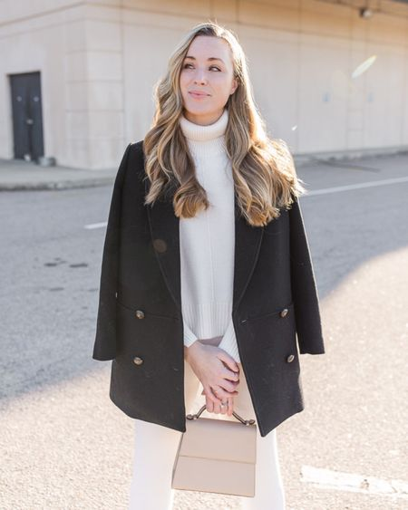 One of my favorite fall to winter looks from last season. Everything pictured is sold out but I linked similar items to recreate the look!  Exact product details: - Sezane James coat - Nordstrom turtleneck sweater - Leset joggers - Hunting Season bag (non-saffiano version(