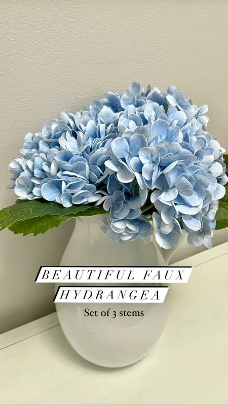 Beautiful faux hydrangea (set of 3 stems). Full stems with a lot of petals.   Note: You will need to fluff out the petals with your fingers and there's a smell up close which should go away once they're aired out.  #LTKhome #LTKunder50 #LTKwedding