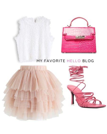 Mini tulle skirt date night. Mini skirt outfit girls night out with hot pink heels and bag. Mini skirt and crop top. http://liketk.it/3gcYb #liketkit @liketoknow.it  #hotpink #miniskirt #datenight #gno #girlsnightout  #LTKshoecrush #LTKitbag #LTKwedding