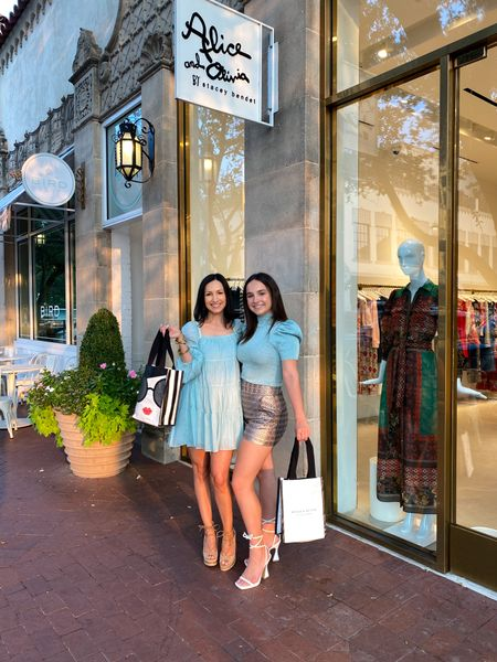 What a rush!🥂Super fun night, shopping for rush week (and chic pieces for moms, too)! Obsessed with my twirly aqua dress and the adorable sweater and shorts set @marisa.Overturf is wearing...link to shop both looks is  in my bio 🌸  Special thanks to the awesome team @aliceandolivia_dallas for hosting us!  #aliceandolivia #hpvillage #dallas #momdaughter #momlife #rushweek #sorority #rush #college #ttu   #LTKstyletip #LTKfamily
