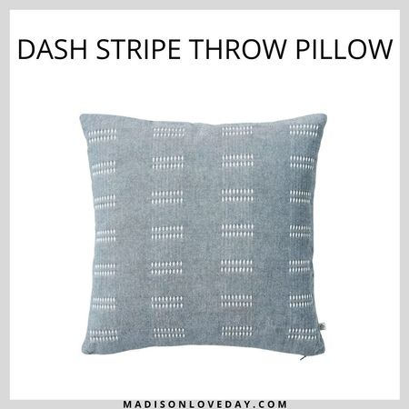 Dash Stripe Throw Pillow - Hearth & Hand with Magnolia  his 14-inch square pillow is adorned with a contrasting dash striped pattern on the textured top, which has a coordinating solid hue on the opposite side for an elegant look. Featuring a soft cotton exterior and a comfy filled interior, this decorative throw pillow lends cushioned comfort as you sit, relax or lounge on your fave chair or sofa.  Target, target finds, fall, fall decor, home decor, home decor finds, autumn, autumn decor, fall finds, home finds,