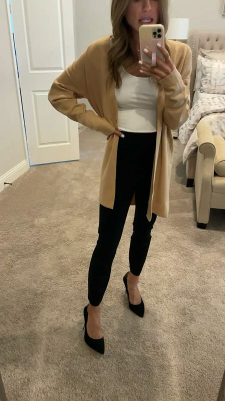 Work/office look size xxs pants, size Xs cardigan and bodysuit   #LTKworkwear #LTKunder100