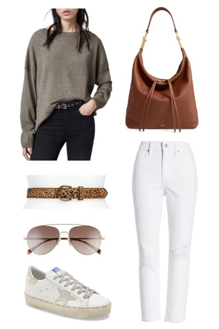 High waisted jeans are a big YES! Now to be brave enough to sport them in WHITE after Labor Day!! Pairs with a calfskin belt, oversized sweater, aviators, and YOLO ... Golden Goose Hi Star Platform kicks and life is good! Never forgetting the hobo bag! Love ♥️ #ltkfall  #LTKshoecrush #rStheCon