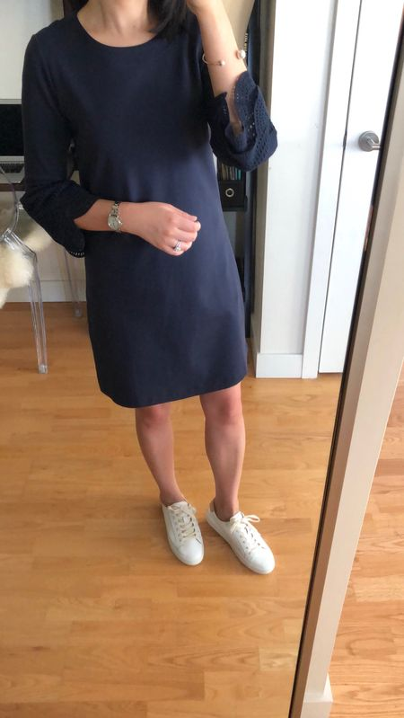💙 This navy dress runs slightly larger so the looser fit makes it look more casual by default. With heels it can pass for business casual. Size 0P fits loosely but I am not sure if 00P would be too snug. I love these chic sneakers (true to size) which are 50% off at Ann Taylor along with the dress using the code TRENDING. @liketoknow.it http://liketk.it/2wfHa #liketkit