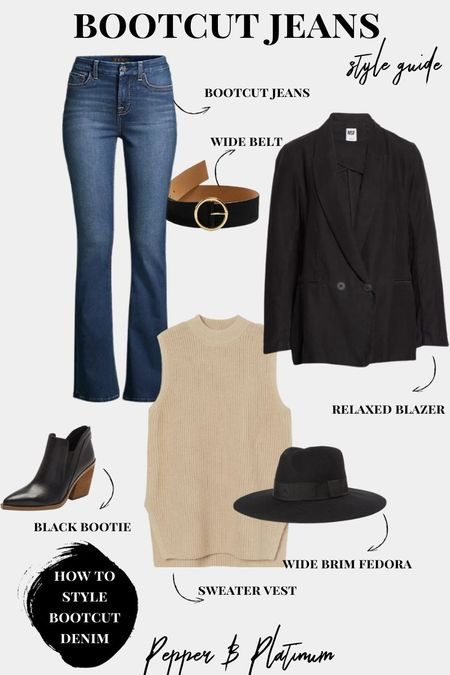 How to style Bootcut Jeans:  black boots, fedora, belt, sweater vest, relaxed blazer