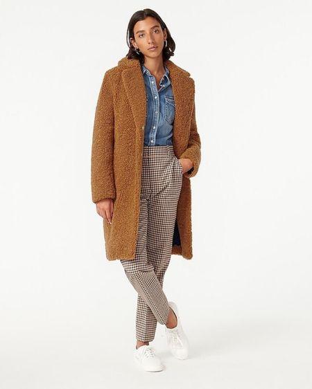 Teddy Sherpa coat | J Crew coat | Teddy coat | camel coat | winter coat #LTKstyletip #StayHomeWithLTK #LTKworkwear @liketoknow.it #liketkit http://liketk.it/2Xg9n