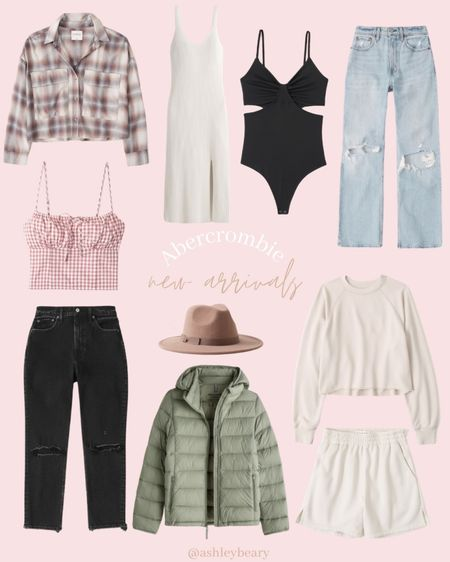 Abercrombie's new pre Fall arrivals are so good! This black denim is my new favorite and I also just ordered this plaid crop top. This easy package puffer comes in 4 colors and I love this sage green color.   #LTKunder100 #LTKstyletip #LTKunder50