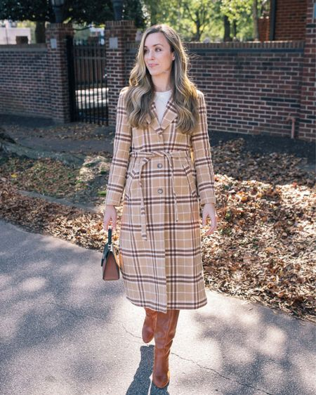 Plaid Coat, Fall Coat, Thanksgiving Outfit, Fall Outfit Ideas  My And Other Stories fall coat from last season is back in a few sizes and on sale!   I linked more houndstooth, tweed, and plaid coats I found in-stock this season.  Crewneck linked is similar, not exact—Bloomingdales cashmere usually runs TTS.  Coated pants linked are from the same brand in this year's brown color. They run TTS.  Bag is old Mateo, similar top handle satchel linked.  #thanksgivingoutfitwomen #falloutfitinspo #fallfashion #fallfashion2021 #cutethanksgivingoutfits #thanksgivingdinneroutfit #thanksgivingoutfit