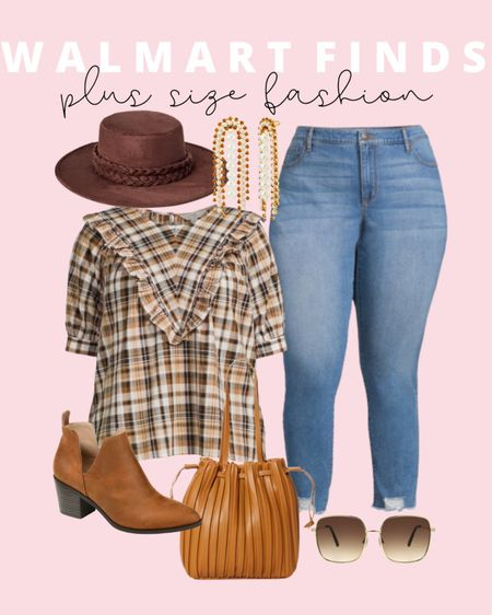 This plus size fall outfit is head to toe Walmart finds, including my favorite plus size Sofia Vergara jeans. Plus size fashion doesn't have to be expensive or boring!   #LTKunder50 #LTKcurves #LTKstyletip
