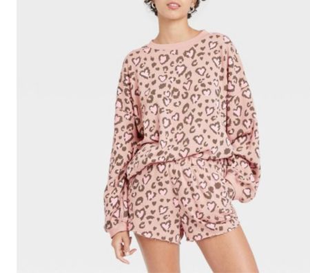 Valentine's Day. Valentine's gift guide. Valentine's Day outfit. Women's Spotted Heart and Leopard Print Pajama Set - Soft Pink. Target finds. Target style. Under 30.   #LTKunder50 #LTKVDay #LTKSeasonal