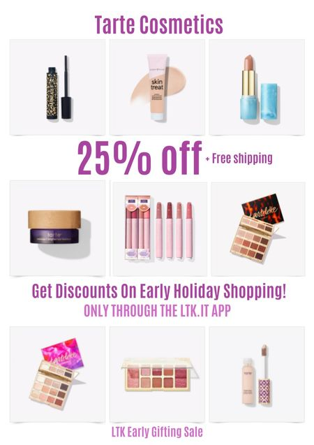 Get discounts on early holiday shopping with the LTK Early Gifting Sale! Get 25% off sitewide + free shipping at Tarte Cosmetics. Man-eater mascara, skin treat tinted SPF cream, color splash lipstick, maracuja eye cream, juicy lip gloss, eyeshadow palette, shape tape concealer.   #LTKDay #LTKSale #LTKbeauty