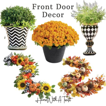 Spice up your front door decor with mums, pumpkins and garland.   #LTKfamily #LTKSeasonal #LTKhome